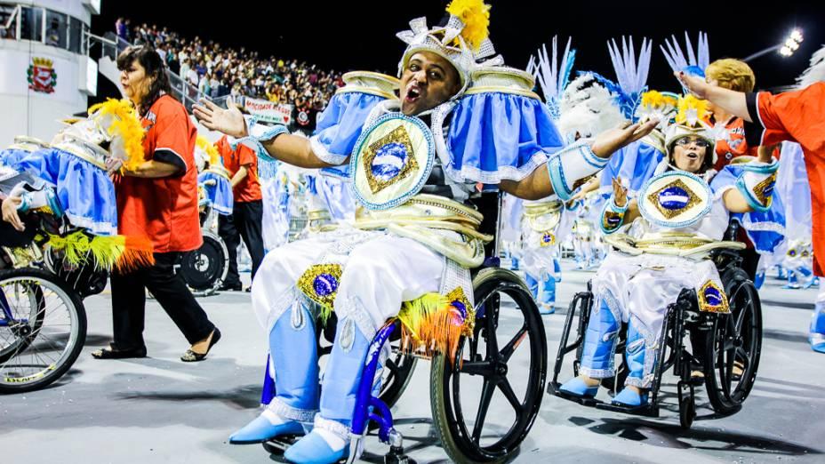 Ala dos cadeirantes no desfile da Gaviões da Fiel, em São Paulo