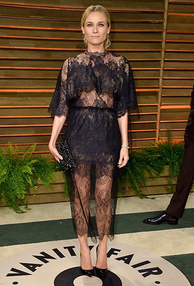 A terceira posição da compilação ficou com a atriz Diane Kruger, que se destacou com o vestido da grife italiana Valentino em uma festa paralela do Oscar, em março, organizada pela revista Vanity Fair