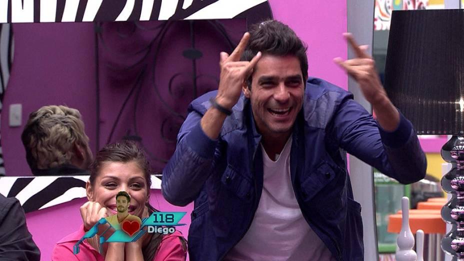 Diego comemora permanência no BBB14 depois do quarto paredão