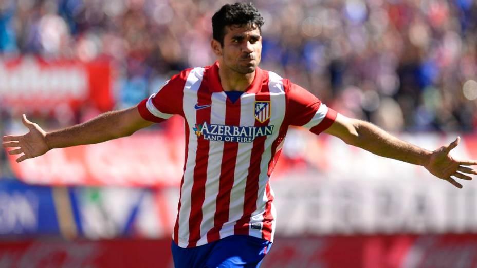 Diego Costa comemora gol pelo Atlético contra o Celta