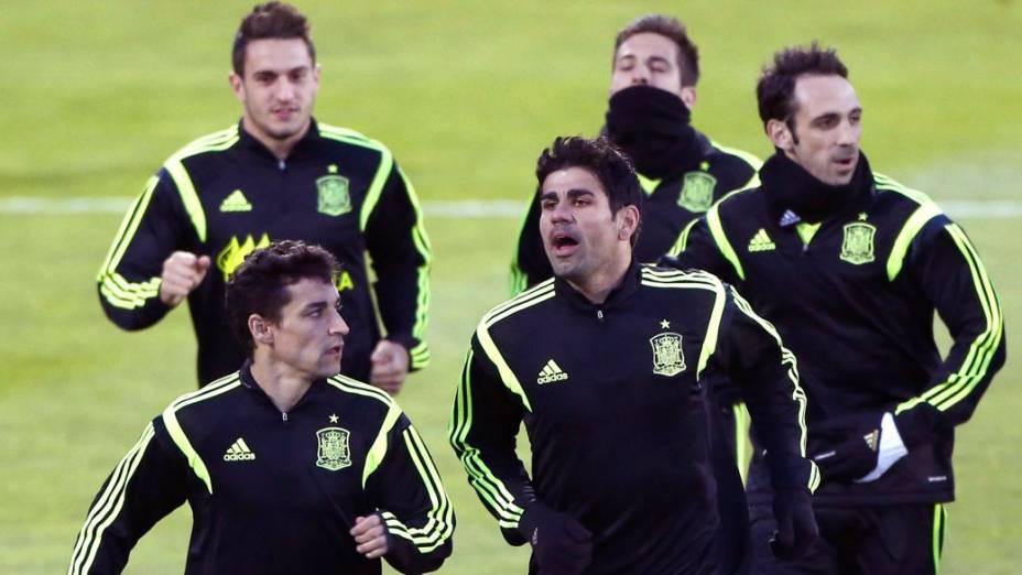 Diego Costa em seu primeiro treino com a seleção espanhola