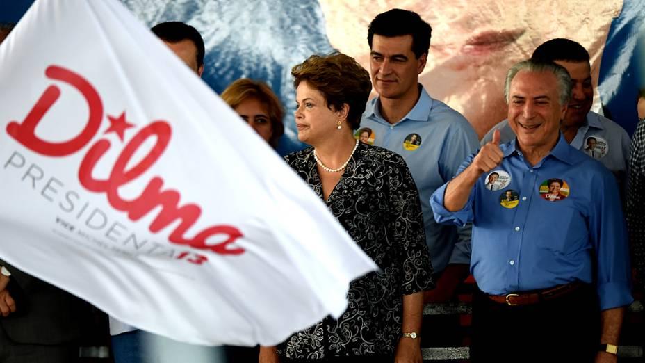 A presidente e candidata à reeleição, Dilma Rousseff, durante evento em Jales, no interior paulista. O vice-presidente Michel Temer, o Deputado Estadual Baleia Rossi e o candidato ao governo do Estado Paulo Skaf também compareceram - 30/08/2014