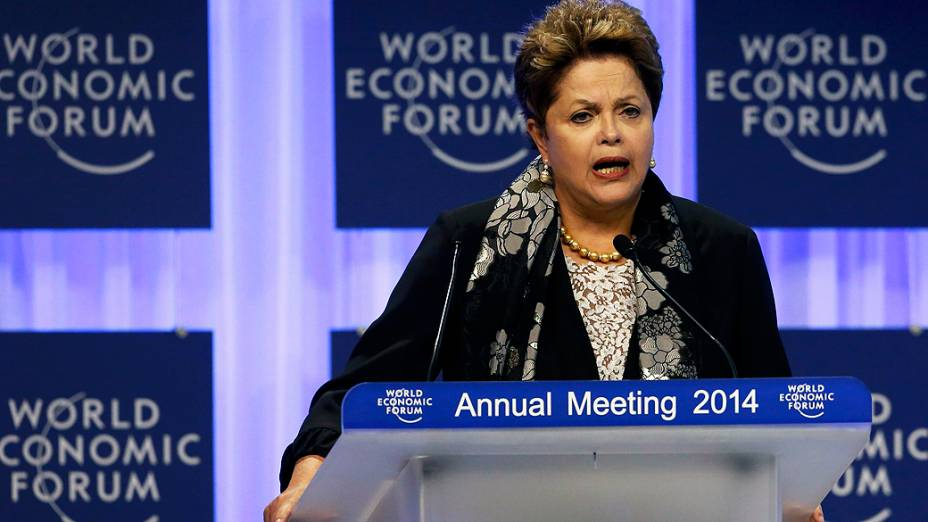 A presidente Dilma Rousseff discursa, nesta sexta-feira (24/1), da 44ª edição anual do Fórum Econômico Mundial, em Davos, nos Alpes Suíços