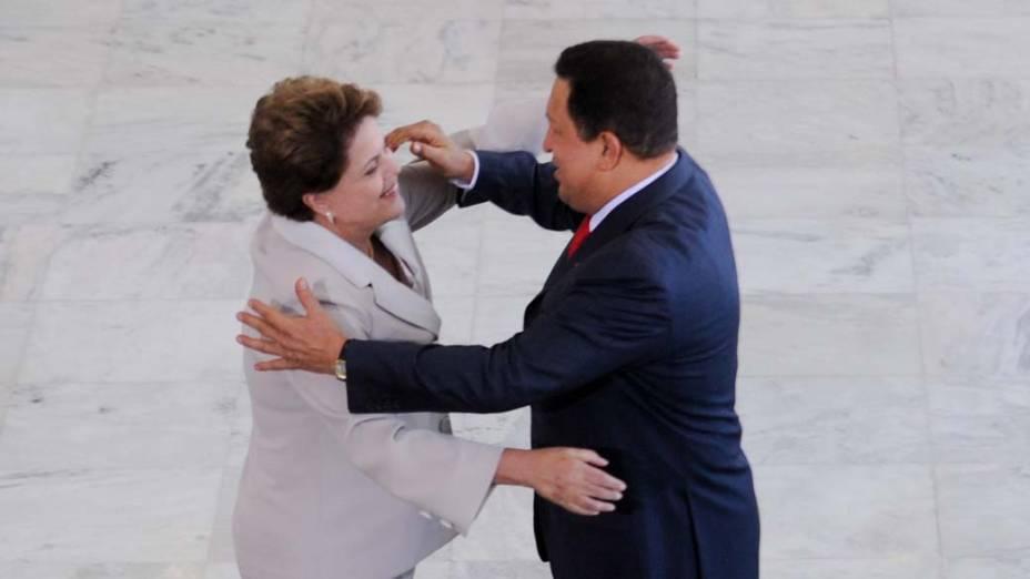 Dilma Rousseff recebe Hugo Chavez no Palácio do Planalto, Brasília
