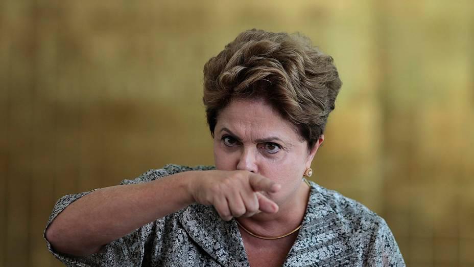 A presidente Dilma Rousseff durante coletiva, no Palácio do Planalto, nesta sexta-feira (19)