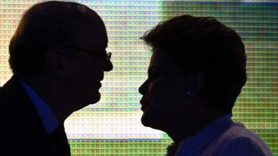 Serra e Dilma durante Debate dos Candidatos à Presidência realizado na Rede Bandeirantes, 05/08/2010