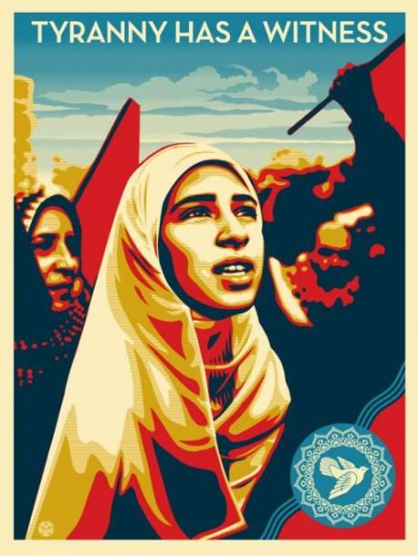 Baseada na fotografia tirada por Yuri Kozyrev, aqui, Shepard Fairey faz um apelo pelos direitos humanos