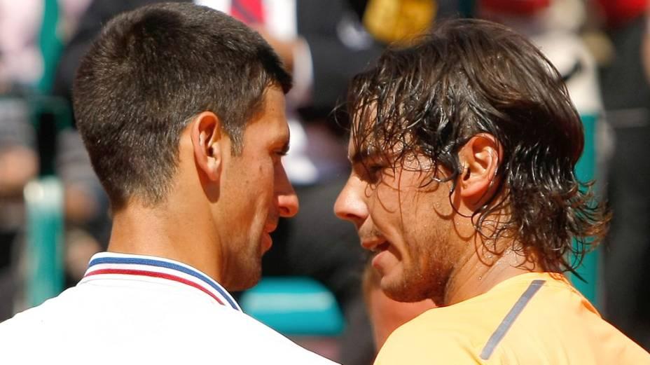 Rivalidade: Novak Djokovic e Rafael Nadal na final do torneio de Monte Carlo de 2013