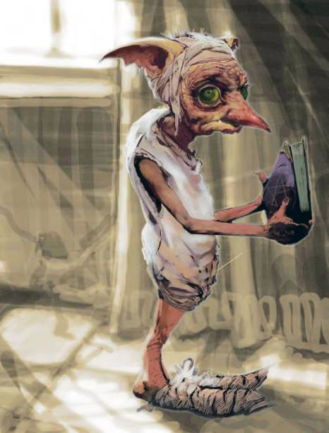 Arte conceitual inicial de Dobby coberto de toalhinhas, por um artista desconhecido