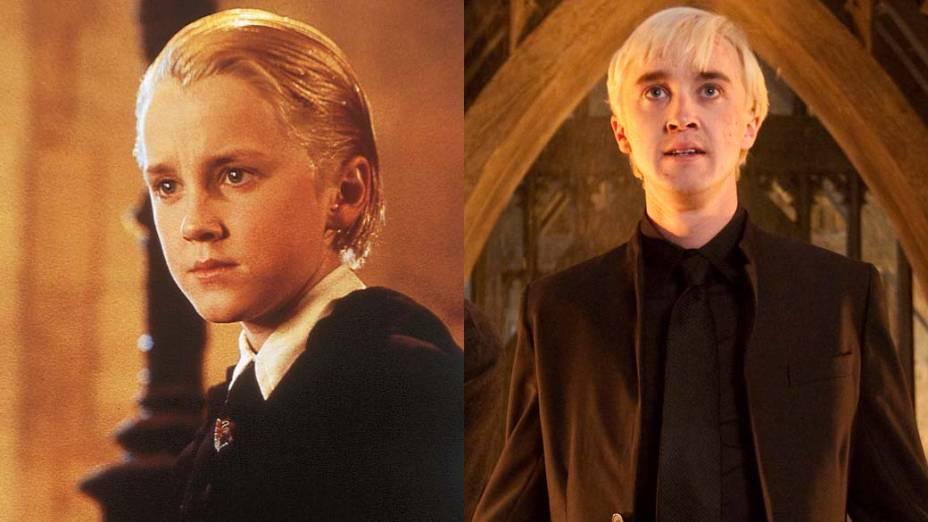 Tom Felton como Draco Malfoy em <em>Harry Potter e a Pedra Filosofal</em>, de 2001, e em <em>Harry Potter e as Relíquias da Morte: Parte 2</em>, de 2011