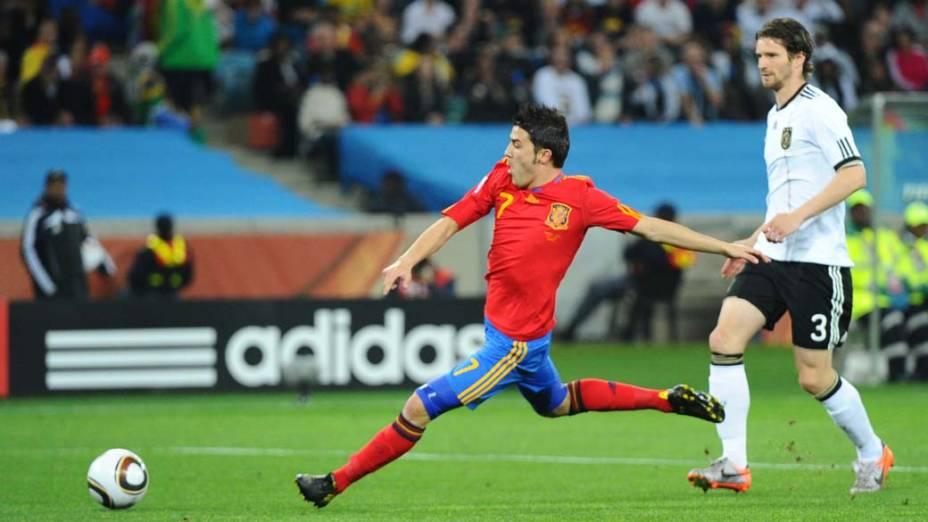 David Villa durante a partida Alemanha e Espanha pela Semifinal da Copa da África do Sul
