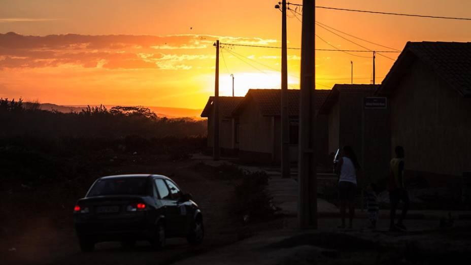 O sol se põe em Irecê, nesta quarta-feira (BA)