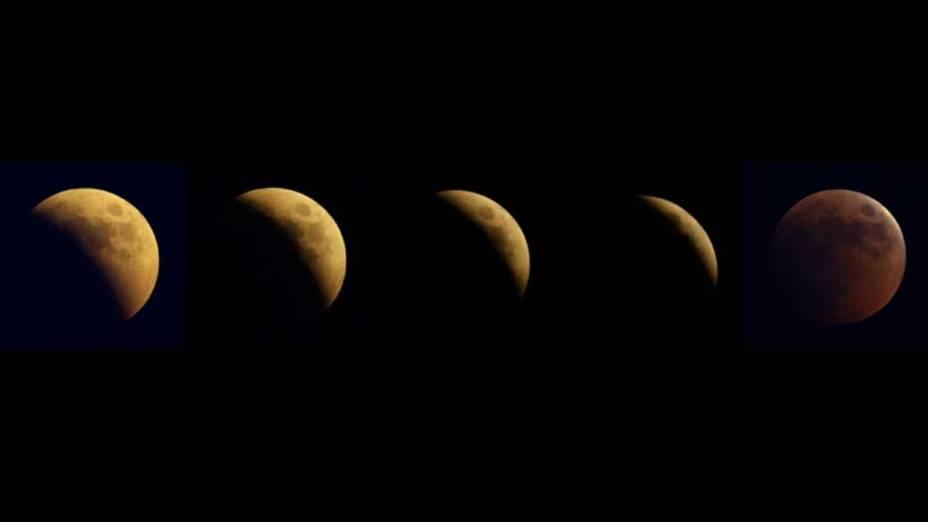 Sequência do eclipse da lua visto em Belgrado, Sérvia
