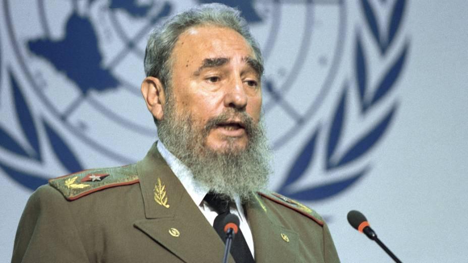 Fidel Castro durante a ECO-92 no Rio de Janeiro em 1992
