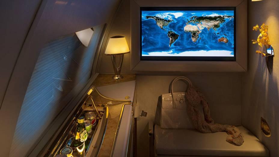 Cada suíte é equipada ainda com um televisor de LCD de 32 polegadas