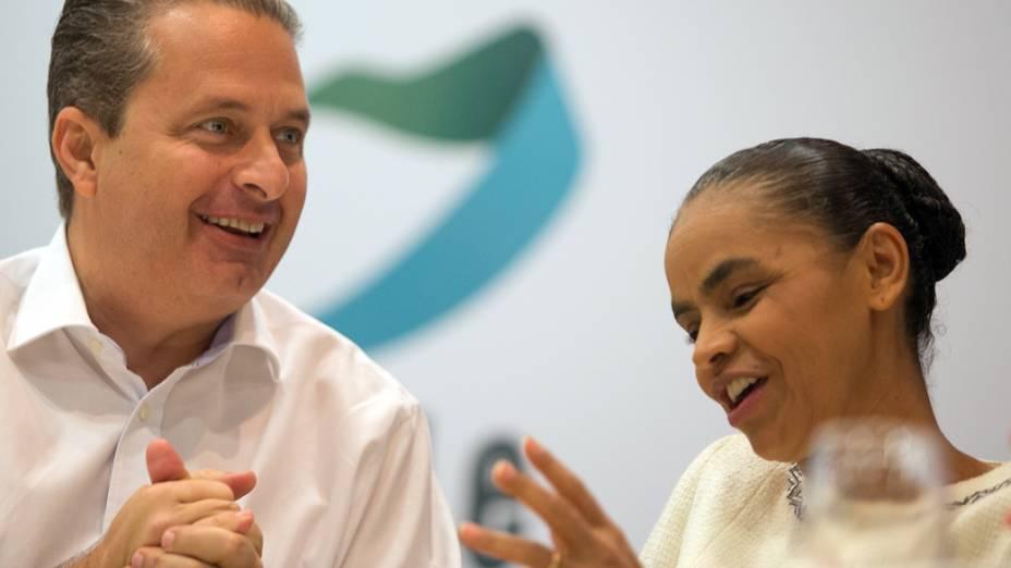 Eduardo Campos e Marina Silva durante seminário da Rede Sustentabilidade