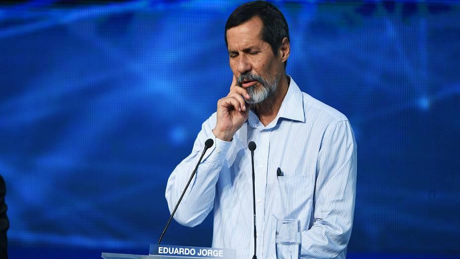 O canditato Eduardo Jorge (PV), durante o debate dos presidenciáveis promovido pelo Grupo Bandeirantes, em 26/08/2014