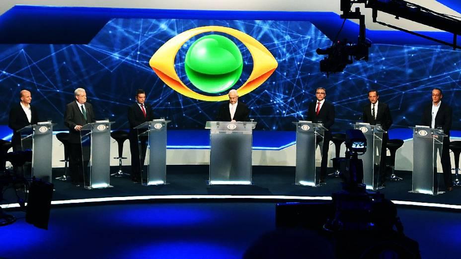 Primeiro debate das eleições 2014 entre os candidatos ao governo do Estado de São Paulo, promovido pela TV Bandeirantes, neste sábado (23), na sede da emissora, em São Paulo