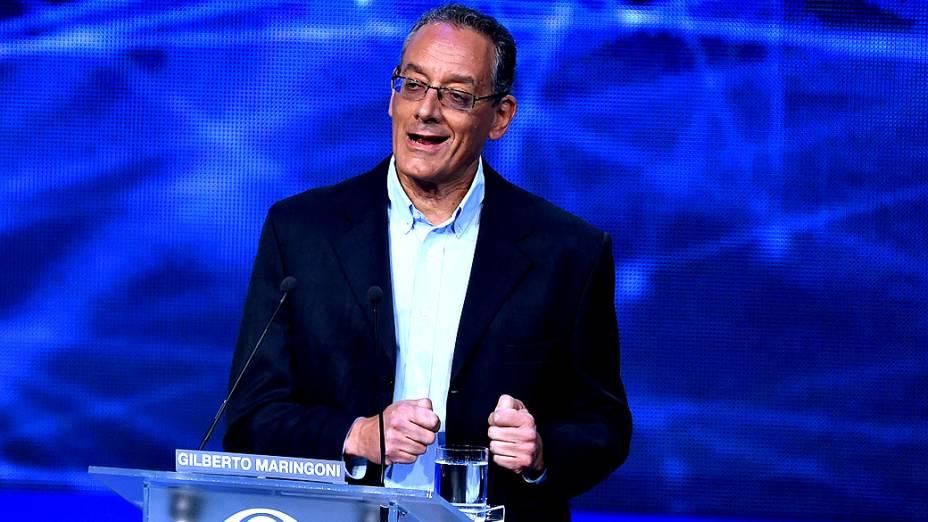 Gilberto Maringoni durante o primeiro debate das eleições 2014 entre os candidatos ao governo do Estado de São Paulo, promovido pela TV Bandeirantes, neste sábado (23), na sede da emissora, em São Paulo