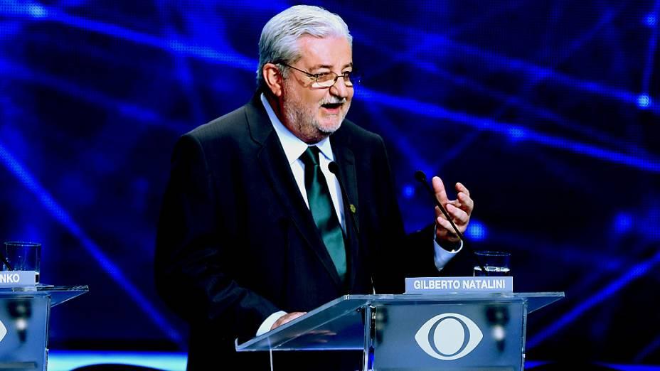 Gilberto Natalini durante o primeiro debate das eleições 2014 entre os candidatos ao governo do Estado de São Paulo, promovido pela TV Bandeirantes, neste sábado (23), na sede da emissora, em São Paulo