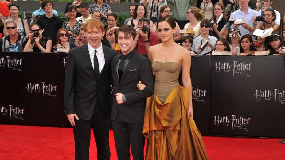 Elenco de Harry Potter e as Relíquias da Morte – Parte 2 na pré-estreia do filme em Nova York
