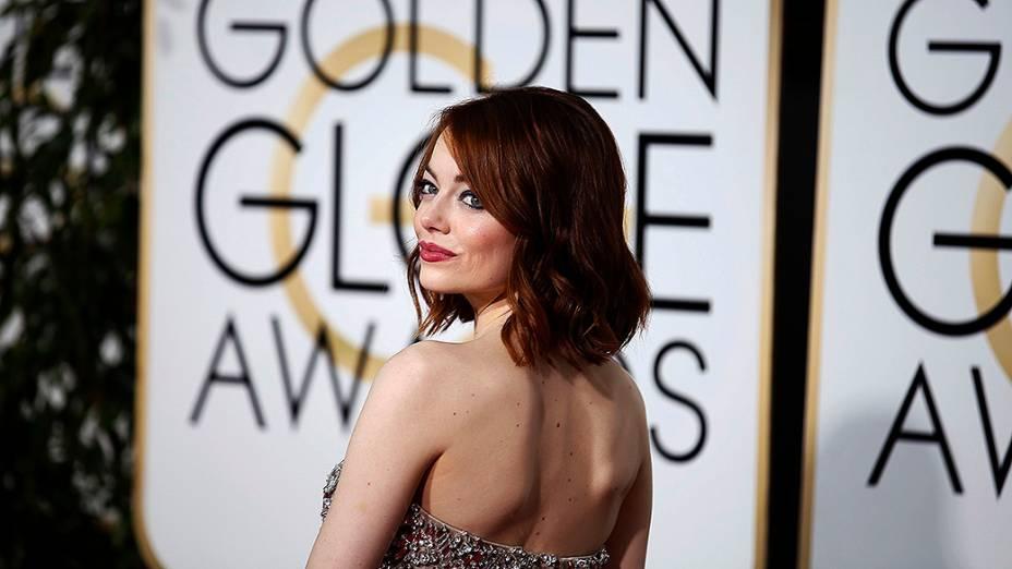 Emma Stone durante 72ª edição do Globo de Ouro, prêmio da associação de correspondentes de Hollywood que elege os melhores do cinema e da TV, em Los Angeles, nos EUA