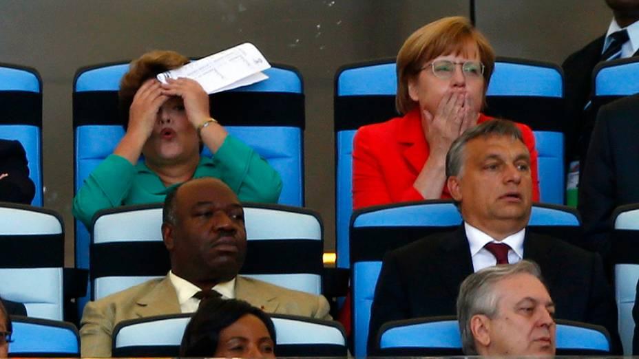 Dilma Rousseff e Angela Merkel na partida entre Alemanha e Argentina, no Maracanã