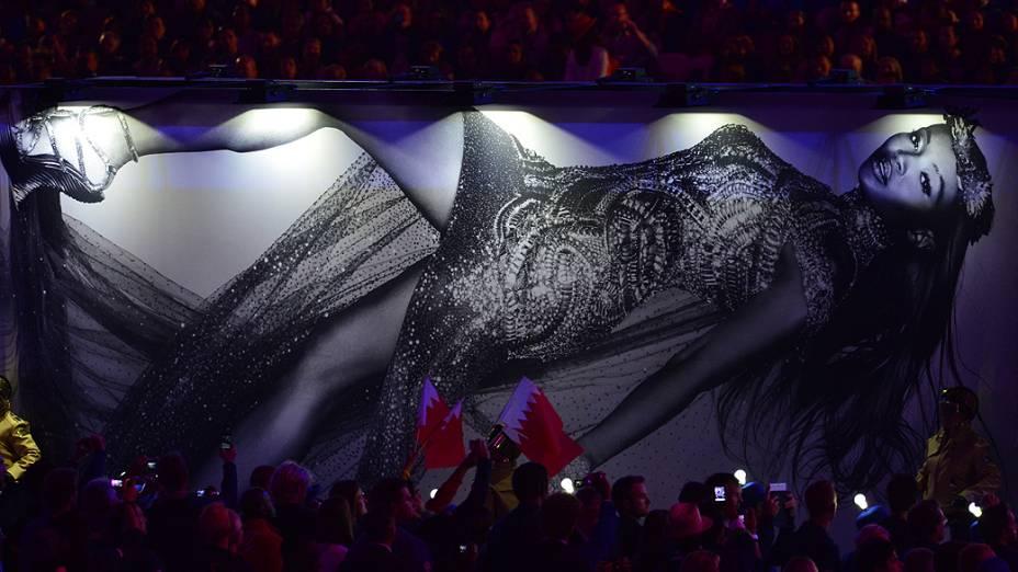 Imagem de Naomi Campbell no encerramento dos Jogos Olímpicos de Londres