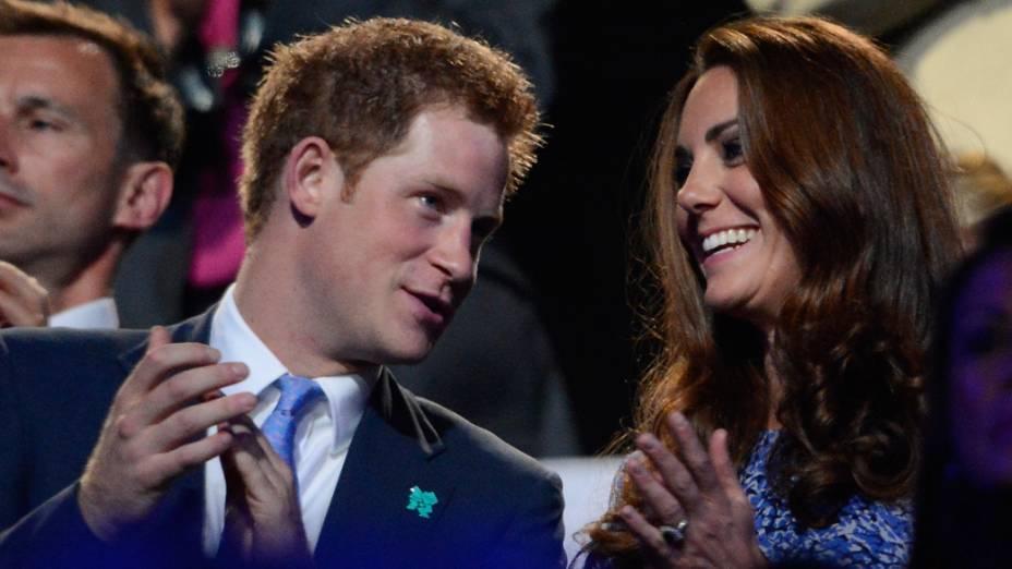 Príncipe Harry e Kate Middleton na festa de encerramento dos Jogos Olímpicos de Londres, em 12/08/2012