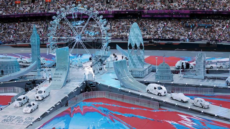 Preparativos para a festa de encerramento dos Jogos Olímpicos de Londres, em 12/08/2012