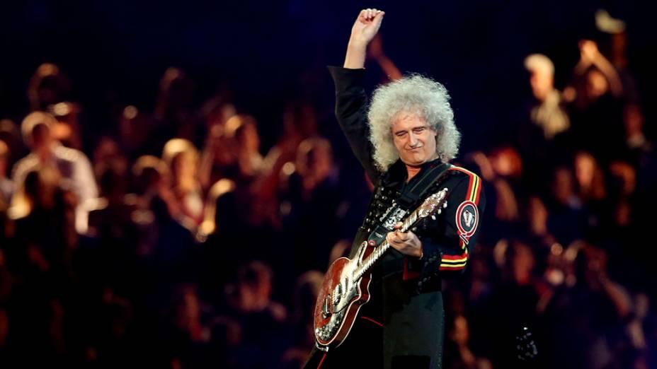 O guitarrista do Queen, Brian May, na festa de encerramento dos Jogos Olímpicos de Londres, em 12/08/2012