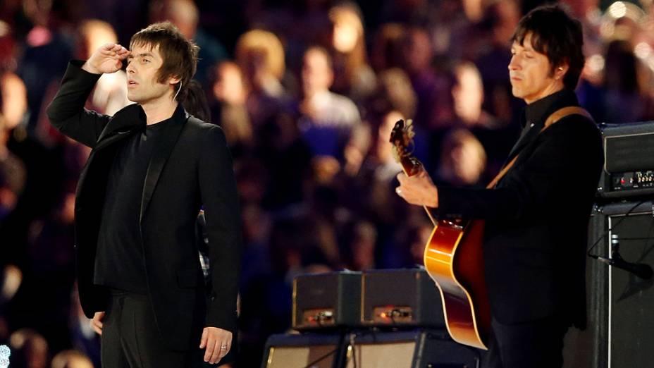Liam Gallagher na festa de encerramento dos Jogos Olímpicos de Londres