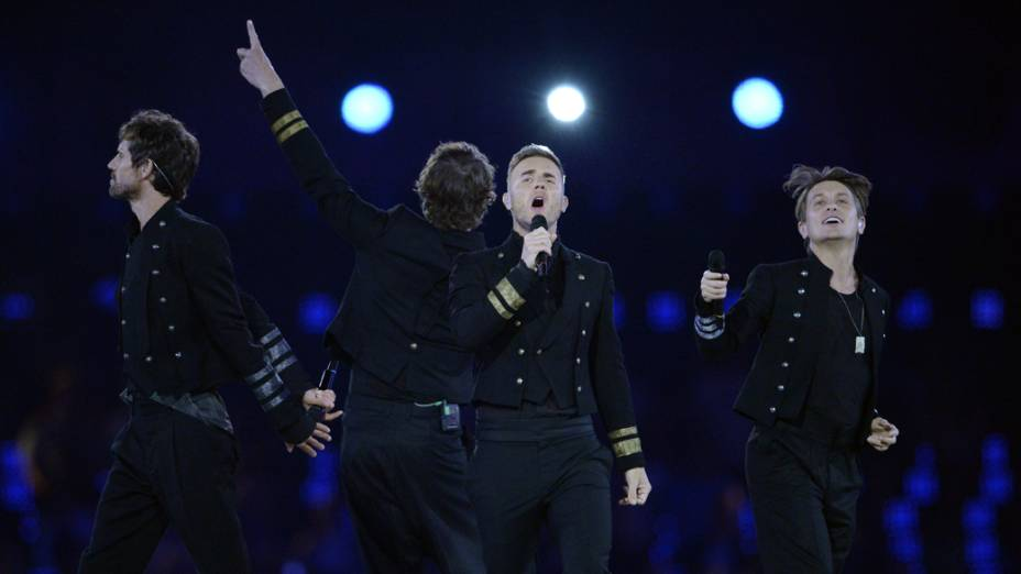 A banda Take That na festa de encerramento dos Jogos Olímpicos de Londres