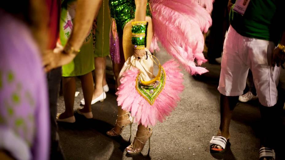 Componente da escola de samba Mangueira aguarda início do desfile