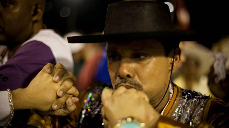 Expectativa antes de desfile no carnaval do Rio de Janeiro