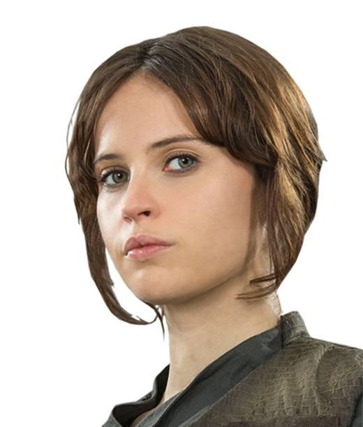 A atriz Felicity Jones como Jyn Erso em Star Wars: Rogue One