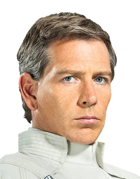 O ator Ben Mendelsohn como Diretor Orson Krennic no filme Star Wars: Rogue One
