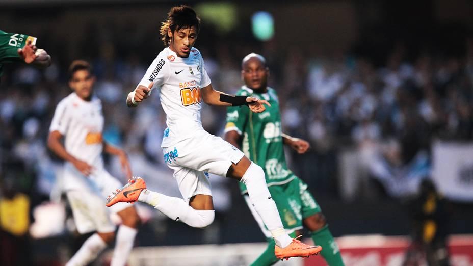 Neymar durante partida contra o Guarani, no estádio do Morumbi, em São Paulo