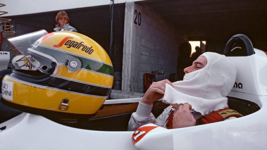 Ayrton Senna, com a Toleman Hart, no GP do Brasil, em Jacarepagua, em 1984