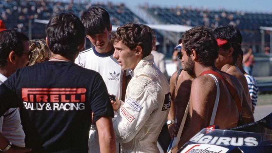 Ayrton Senna, no GP do Brasil, em Jacarepagua, em 1984