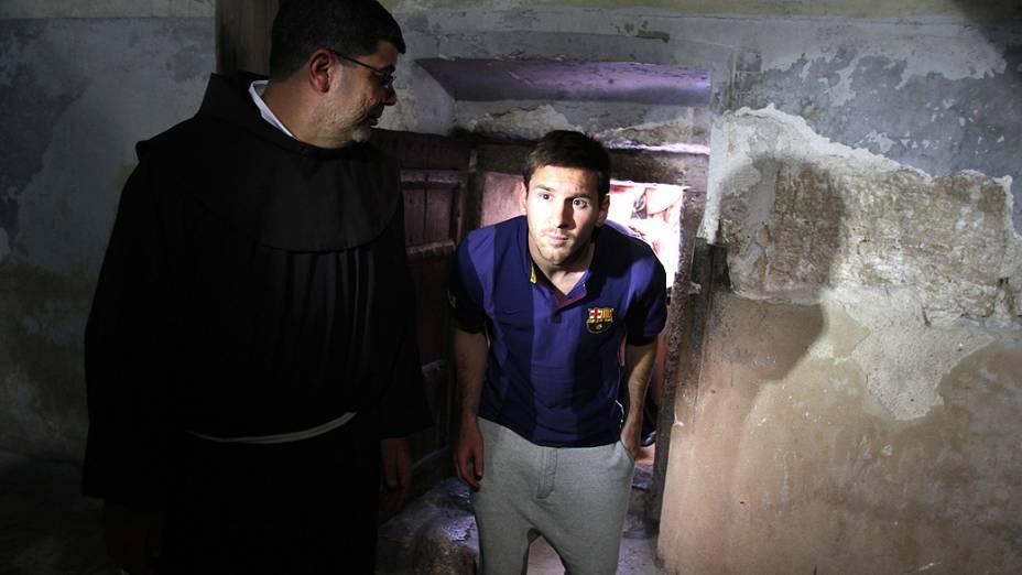 Messi e seus companheiros de Barcelona estão no Oriente Médio para uma turnê de dois dias, com oficinas esportivas para crianças palestinas e israelenses