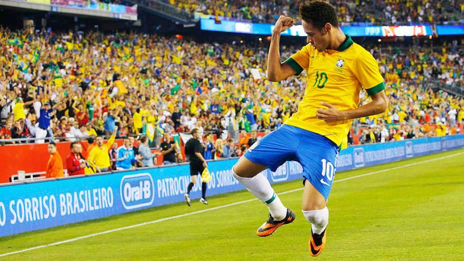 Neymar comemora gol contra Portugal durante jogo amistoso em Foxborough, Massachusetts