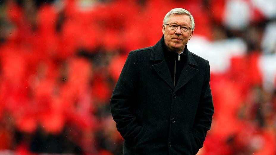 Alex Ferguson vem para seu último jogo em casa no comando do Manchester United antes de se aposentar, no Old Trafford, Inglaterra