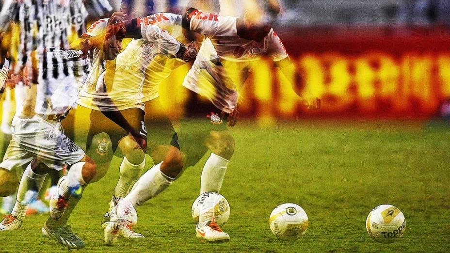 Paulinho durante primeira partida da final do Campeonato Paulista de Corinthians e Santos, no Pacaembu, São Paulo