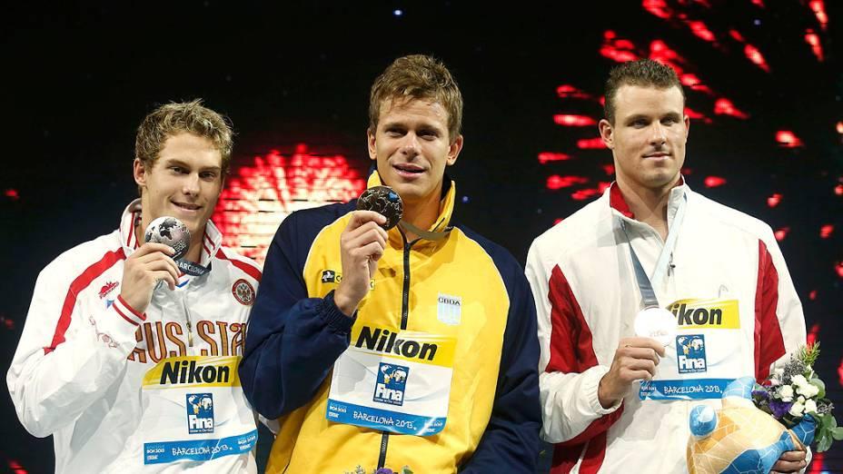 Cielo após vencer 50m livre final masculina durante os Campeonatos Mundiais de Natação no Sant Jordi Arena em Barcelona