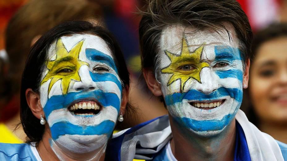 Torcida do Uruguai em partida válida pela Copa das Confederações entre Espanha e Uruguai, em Recife