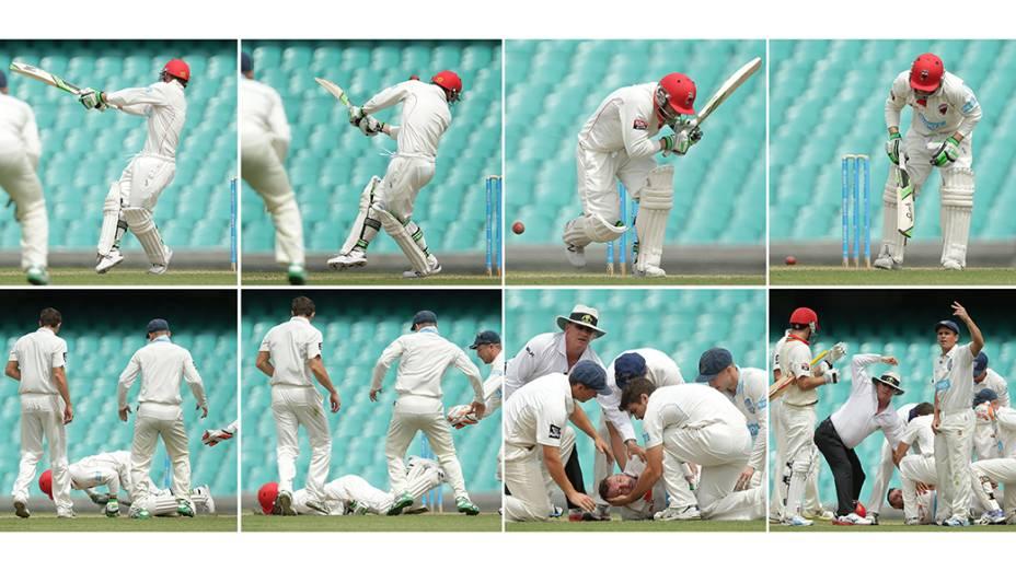 Sequência de imagens mostra Phillip Hughes no momento em que é atingido na cabeça por uma bola