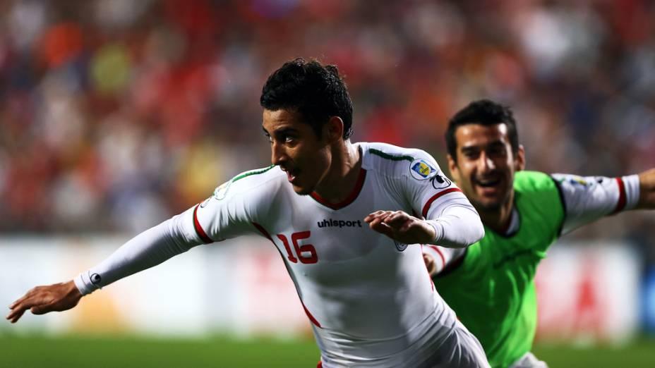 Reza Ghoochannejad em jogo entre Coréia do Sul e Irã no Estádio Munsu Cup, em Ulsan, Coréia do Sul