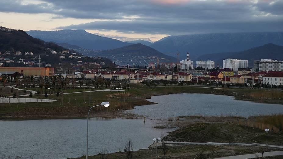 Vista geral da vila olímpica de Sochi