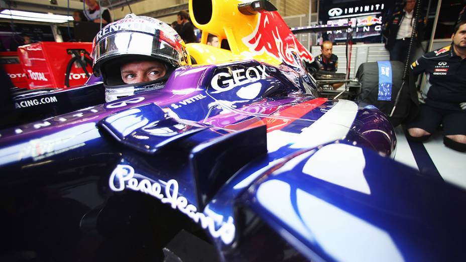 Sebastian Vettel durante os treinos do GP da Bélgica no circuito de Spa-Francorchamps